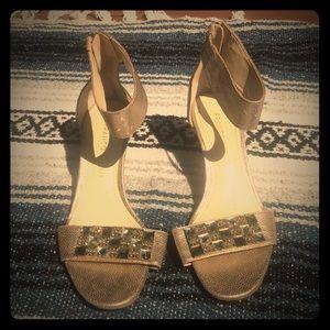 Franco Sarto heels with ankle strap bronze sz 6
